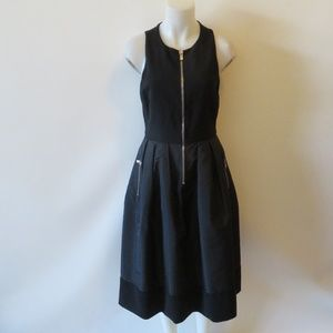 MICHAEL KORS BLACK FABRIC/SHINY A-LINE DRESS 10*